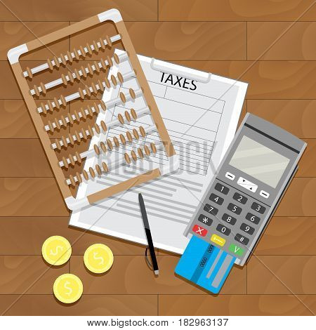 Business tax and banking paperwork illustration of credit card terminal vector