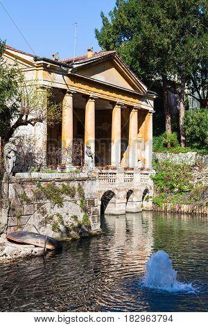 Fountain And Valmarana Loggia In Vicenza City