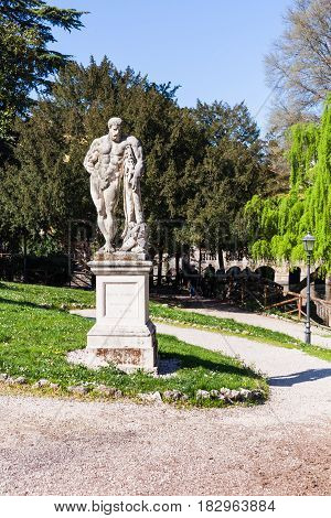 Statue Of Heracles In Urban Garden In Vicenza
