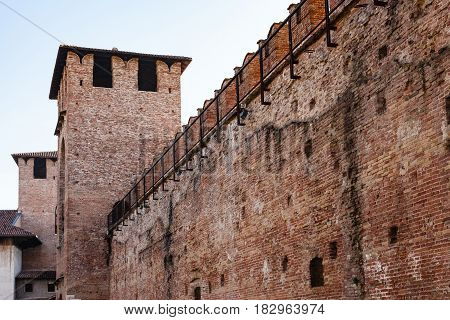 Wall Of Castelvecchio (scaliger) Castel In Veron