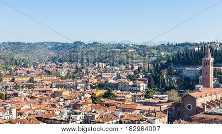 Above View Verona Town With Sant'anastasia Church