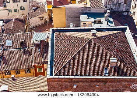 Above View Of Urban Houses In Verona City