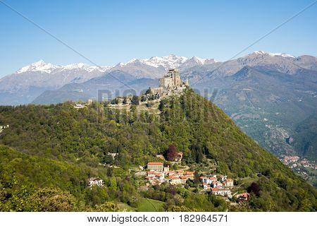 View of the Sacra di San Michele ( Saint Michael's Abbey) religious complex under Benedictine rulein Piedmont Italy.