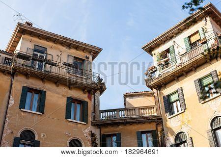Urban Houses On Street Calle Di Mezzo In Venice