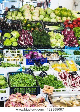 Italian Vegetables On Market On Piazza Delle Erbe