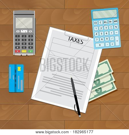Finance transaction tax. Banking pay tax business budget vector illustration