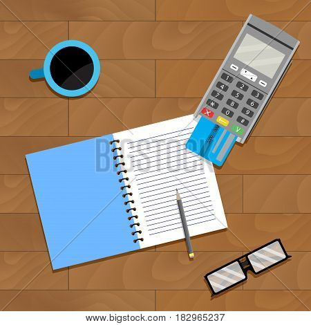 Financial accountant banking accountancy home and notebook vector illustration