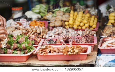 Street food in Sapa market, Vietnam