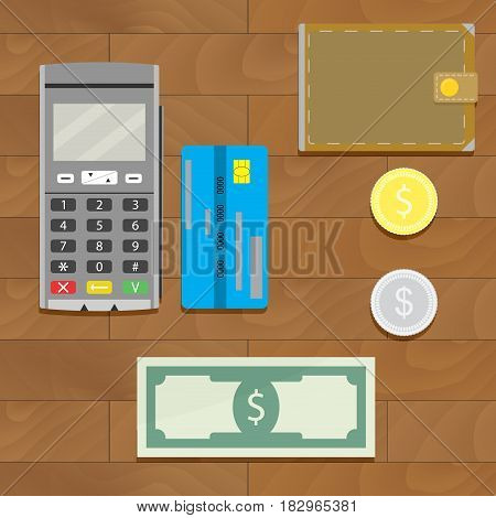 Money cash and credit card. Silver and golden coin with wallet. Vector illustration