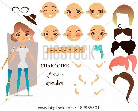 Girl cartoon character for your scenes and animation