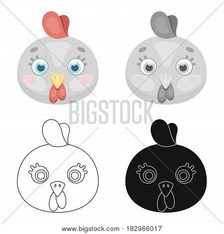 Hen muzzle icon in cartoon design isolated on white background. Animal muzzle symbol stock vector illustration.