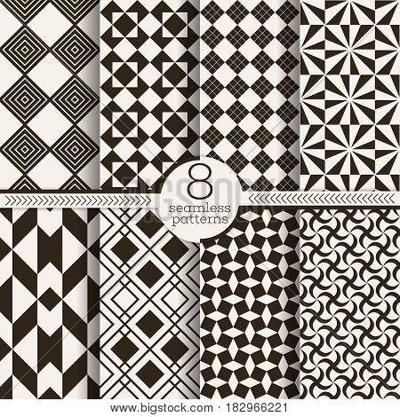 Set of vector seamless patterns. Classical stylish textures. Infinitely repeating geometrical backgrounds consisting of different geometrical shapes: rhombus; checkered shapes; triangle.