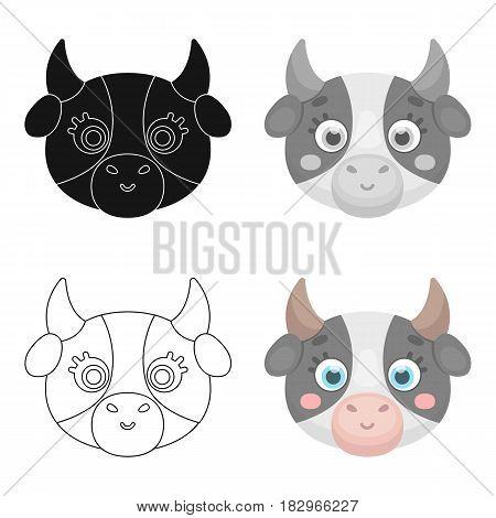 Cow muzzle icon in cartoon design isolated on white background. Animal muzzle symbol stock vector illustration.
