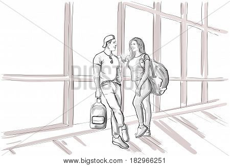 Sketch Couple In Airport Lounge Waiting Departure Flight Man And Woman Holiday Travel Vector Illustration