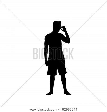 Man Black Silhouette Speak On Cell Smart Phone Call Standing Full Length Over White Background Vector Illustration