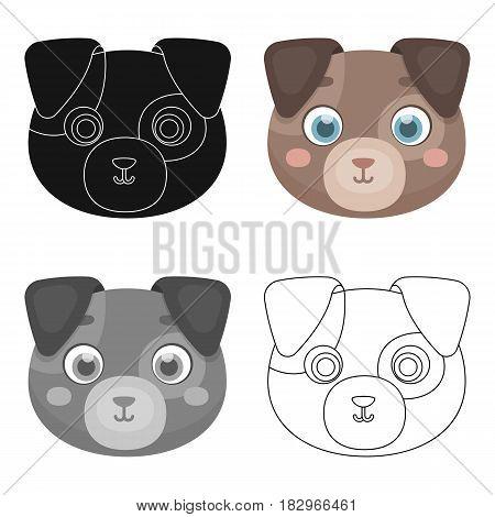 Dog muzzle icon in cartoon design isolated on white background. Animal muzzle symbol stock vector illustration.