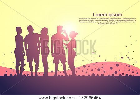 Silhouette People Group Stand Man And Woman Full Length Vector Illustration