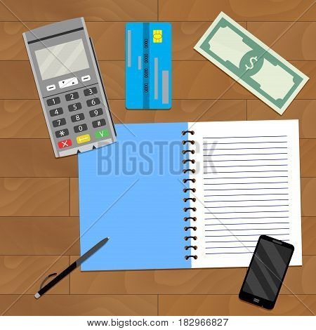 Financial Planning Business. Transfer machine credit card and bill banknote on wood table. Vector illustration