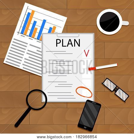 Business economic planning. Plane and strategy business plan project vector planning process illustration of strategic planning