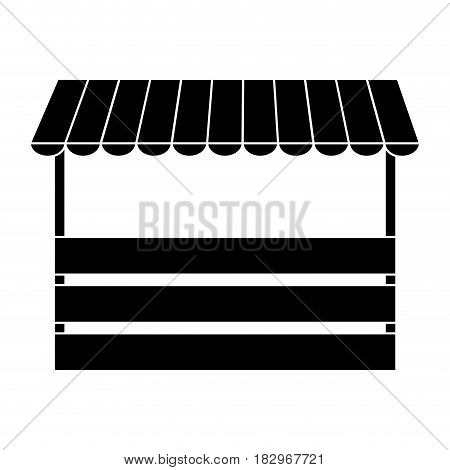store with striped awning icon over white background. vector illustration