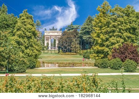 Arco della Pace, Porta Sempione, colorful sunny day in Milan Italy Traveling Sightseeing Destination Summer 2012 Blue Sky Outdoors Beautiful Monument Architecture