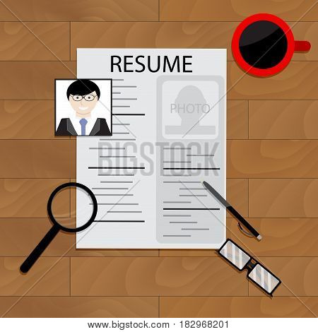 Create resume concept. Write resume application document vector illustration