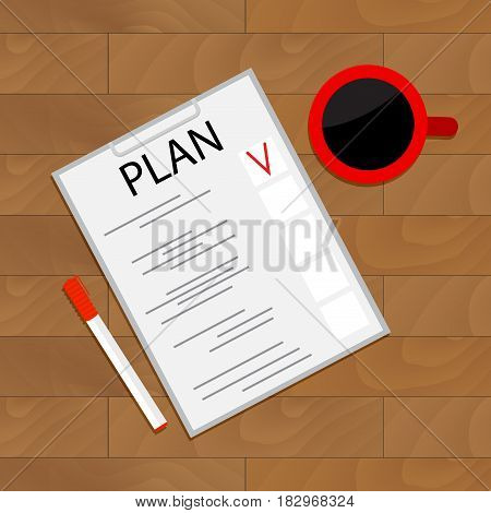Scheduling tasks top view. Organize checklist project vector work analysis illustration of business view top