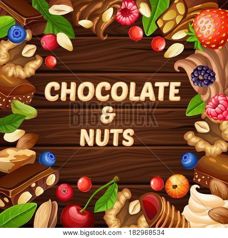Cartoon pastry template with nuts berries whipped cream chocolate candies and pieces on wooden background vector illustration