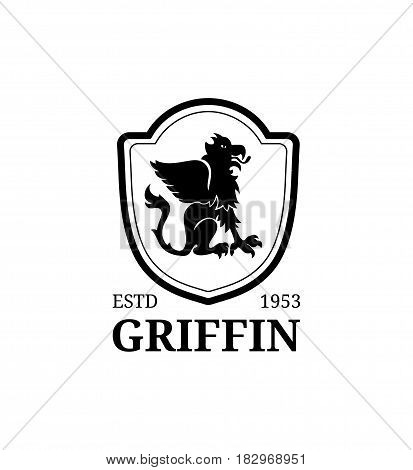 Vector griffin logo template. Luxury crest monogram. Graceful vintage animal symbol illustration. Used for hotel, restaurant, boutique, jewellery invitation, business card etc.