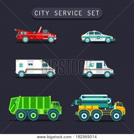 Vector city transport set in flat style. Urban vehicles infographics. Town municipal different special, emergency service cars and trucks icons collection.
