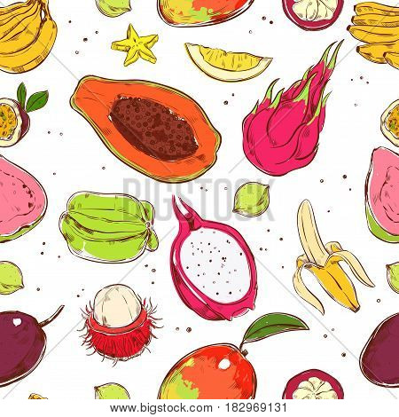 Sketch colored exotic fruits seamless pattern with banana mango papaya mangosteen carambola guava rambutan quince passionfruit vector illustration