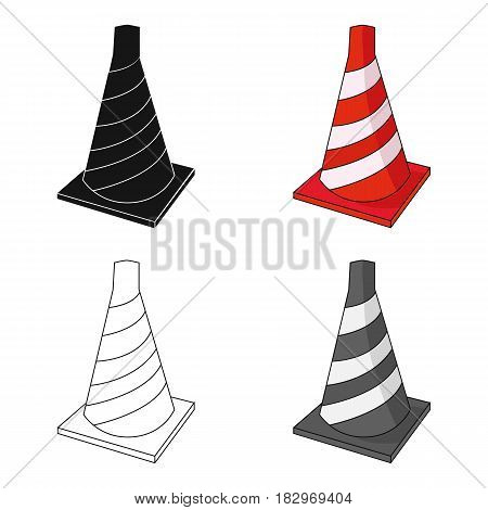 Traffic cone icon in cartoon design isolated on white background. Architect symbol stock vector illustration.