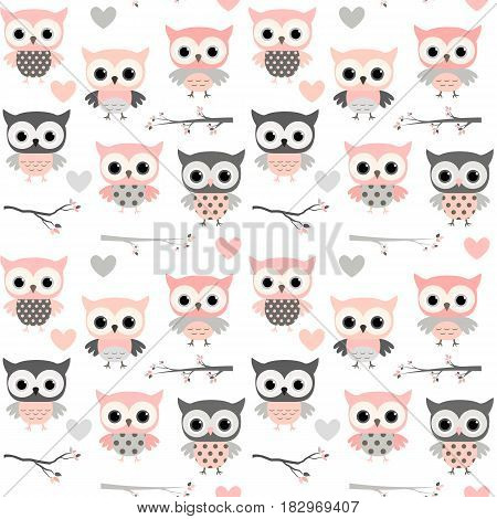 Cute vector seamless pattern with cartoon owls hearts and branches in pink and grey colors for girl clothing scrapbooking and nursery decor