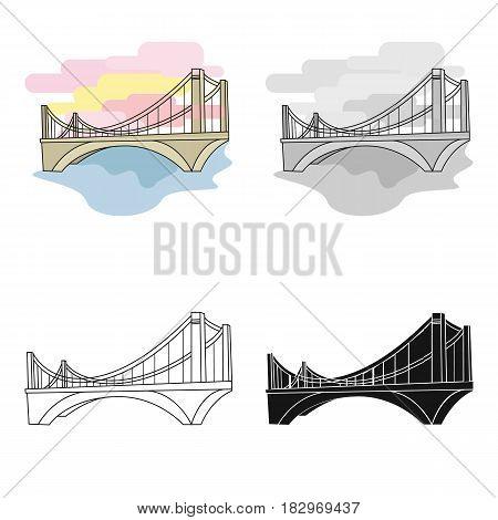 Bridge icon in cartoon design isolated on white background. Architect symbol stock vector illustration.