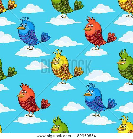 Seamless Background with Funny Colorful Birds on White Clouds in Blue Sky, Cute Cartoon Characters of Different Colors and Moods, Sad, Angry, Cheerful and Insidious, Tile Pattern for Design. Vector