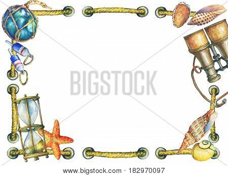 Square frame with shall and nautical objects. Hand drawn watercolor painting on white background.