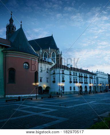 Historic city center of Krakow at night Poland