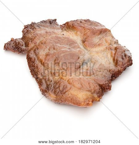 Cooked fried pork meat isolated on white background cutout