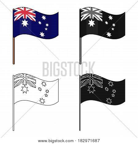 Australian flag icon in cartoon design isolated on white background. Australia symbol stock vector illustration.