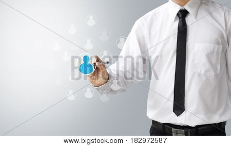business concept select person or people to work team