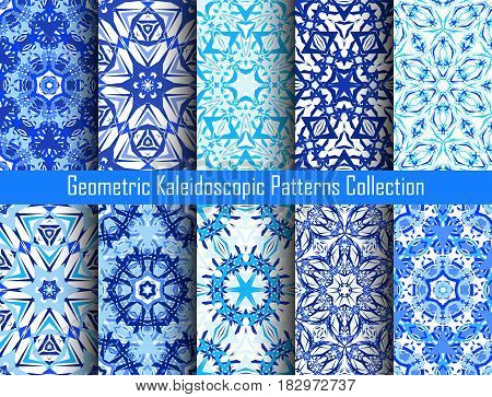 Blue backgrounds. Geometric flower seamless patterns. Abstract mandala graphic print. Psychedelic design elements for wallpaper, scrapbooking, fashion fabric, decorative pillows. Vector illustration.