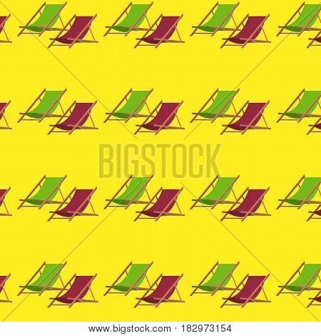 Flat summer beach chair pattern with chaise longue or recliner on yellow background vector illustration