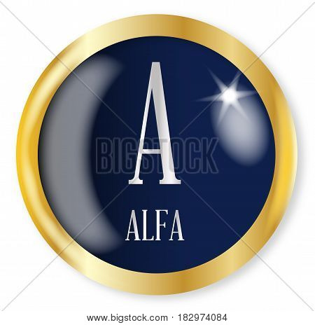 A for Alfa button from the NATO phonetic alphabet with a gold metal circular border over a white background