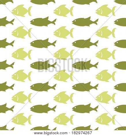 Fish Seamless Pattern  Raster Illustration