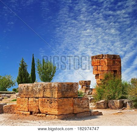 Ruins of an ancient city Hierapolis in Pamukkale Turkey