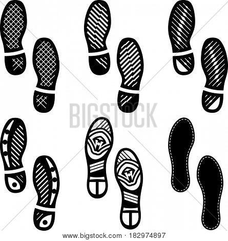 Imprint Soles Shoes (Shoe Print) Set Icon  Raster Illustration