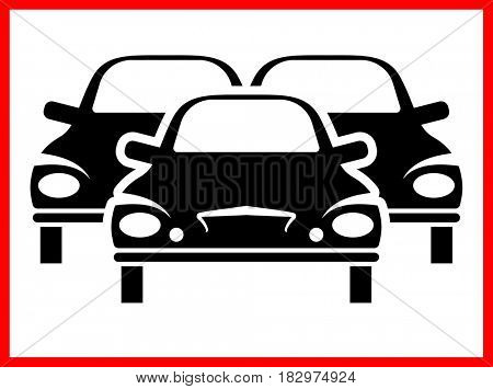 Traffic Jam Icon  Raster Illustration