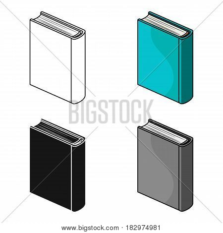 Blue standing book icon in cartoon design isolated on white background. Books symbol stock vector illustration.