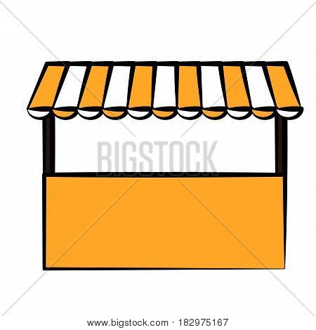 store  with striped awning icon over white background. vector illustrtion