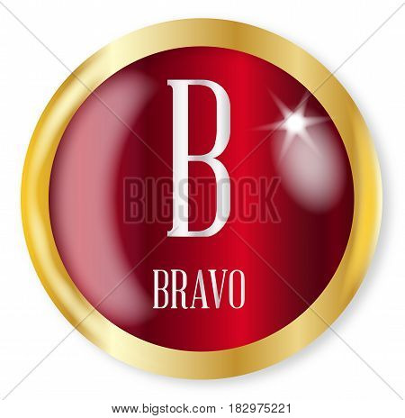 B for Bravobutton from the NATO phonetic alphabet with a gold metal circular border over a white background